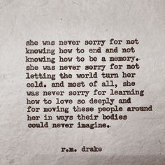 she was never sorry
