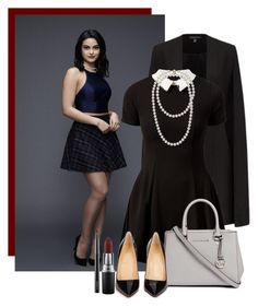 Veronica Lodge by harrytparty on Polyvore featuring polyvore fashion style Cameo Rose Christian Louboutin Michael Kors MAC Cosmetics clothing black dress cape riverdale