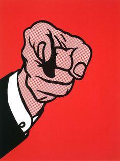 Red Hand Illustration | Roy Lichtenstein -Untitled (Hey You!)1973.