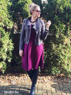 Pink Monroe and Main dress, gray jacket from ShopBop, black boots from DSW. #winterfashion #OOTD