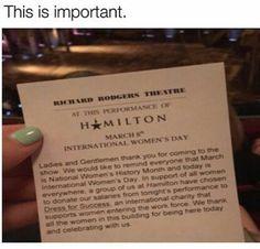 Hamilton for International Women's Day 2017
