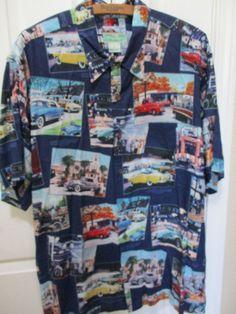 ce39c344 Reyn Spooner Large FORD MOTOR Classic Cars Jaguars HAWAII Aloha Rayon Shirt  Vtg