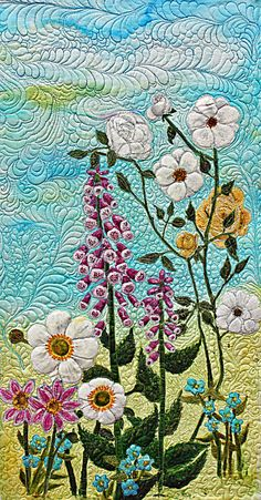 Painted silk floral quilt - love the texture on this.