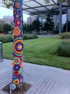 The Shabby Sheep had a yarn bombing event at the Winspear Opera House.  How cool!  I want to go to there. . . not the Winspear Opera House, but to a yarn bombing event!