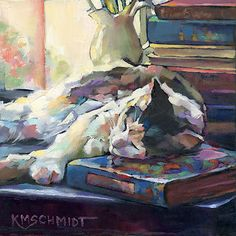 oil painting of library cat