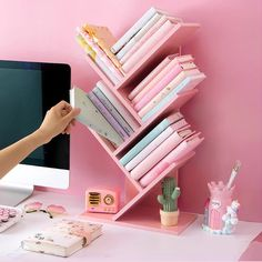 Pink Wooden Table Bookshelf - diy furniture for teens Study Room Decor, Room Ideas Bedroom, Girl Bedroom Designs, Tiny Bedroom Design, Teen Room Designs, Study Room Design, Craft Room Design, Small Room Design, Kids Room Design