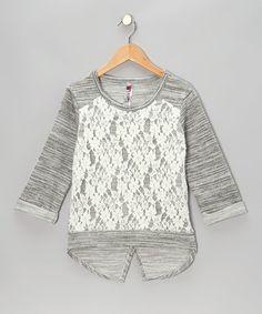 Gray Lace-Front Raglan Top