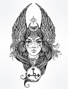 Hand drawn romantic beautiful artwork of fallen angel Lilith, demon and Black Moon planet in astrology. Alchemy, religion, spirituality, occultism, tattoo art. Isolated vector illustration. Stock Photo - 46673397