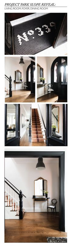 Gorgeous brownstone - especially like the number tile in entryway. Brownstone Interiors, Interior And Exterior, Interior Design, Small Entryways, Future House, Home Remodeling, Sweet Home, New Homes, House Styles