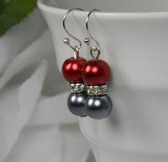 Bridesmaid Red/Slate Gray Pearl Earrings with by BridalTreasures4U