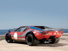 1974 De Tomaso Pantera Group 4 Competition – 560 bhp, 5,763 cc overhead valve V8 engine, four Weber carburettors, five-speed manual gearbox, independent front suspension with upper and lower wishbones with coil springs, adjustable shock absorbers and anti