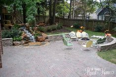 backyard renovation, landscape, outdoor living, patio, ponds water features, porches, We hosted a big fall party last weekend and all 32 people hung out on the patio it s perfect for a crowd