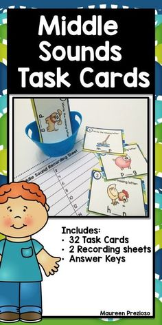 Middle Sound Task Cards are great to practice sound discrimination.  These can be used in Literacy Centers, for Scoot, Roam the Room, a Scavenger Hunt, Small Group Intervention, or Whole Class Instruction.