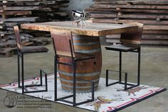 """Wine barrel pub table with live edge young growth redwood full of curl and beautiful color tones. Dimensions are 61""""(long) x 43""""(wide) x 3""""(thick). Bar stand 42"""" tall. Estimated shipping for this ..."""