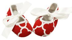 Red Waverly Print Crib Shoes