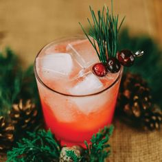 Muddled Pine  dash Angostura bitters 1 oz Freshly squeezed lemon juice .5 oz Pine syrup* 15  Fresh cranberries 1 oz Gin or vodka (optional) .5 oz Lemon-lime soda  *Pine syrup: Bring 1 cup of water and 1 cup of sugar to a boil until dissolved. Reduce heat to low, and add a handful of chopped pine needles. Stir and remove from heat, and let sit for 2 hours. Strain and refrigerate. Keeps up to 3 weeks.
