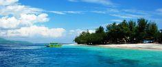 Gili Islands - Gili Trawangan Beach with view of Boat and Islands