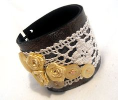 Leather and lace cuff bracelet. Vintage chic inspired leather bracelet