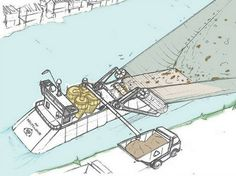 The barge would scoop plastic off of a river's surface before the junk can make it to the ocean