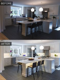 This under cabinet lighting comparison shows the stark difference ...