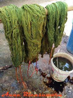 Mango bark dyed organic yarn from Ikat and Me via WanderShopper