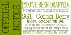 cool invite idea for an army party Army Birthday Parties, Army's Birthday, Birthday Ideas, Camo Party, Cowboy Party, Army Party Themes, Military Party, Military Retirement, Laser Tag Birthday