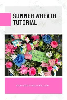 Summer Wreath Tutorial #wreath #tutorial #homedecor #decorprojects #wreathmaking #wreathprojects #DIY #DIYWreath #wreathideas How To Make Wreaths, How To Make Bows, Home Organization Hacks, Organizing, Bow Making Tutorials, Baby Sweater Patterns, Wreath Tutorial, Summer Diy, Baby Sweaters