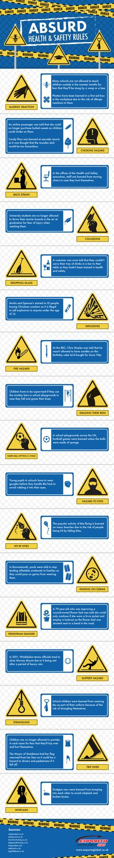 Absurd Health and Safety Rules #Infographic #Health #Safety