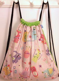 Ref. ML29- Davant de motxilla, de tela - Delante de mochila, de tela - Drawstring backpack, front, of fabric... aprox. 36 x 36cm VENUDA-VENDIDA-SOLD OUT