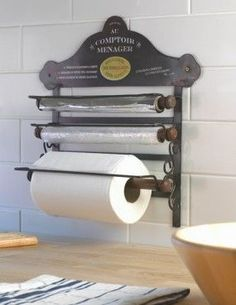 Kitchen Roll Holder - Au Comptoir Menager From Black Country Metalworks Ltd. in the UK, a clever wall mounted, paper towel, cling wrap and foil holder with a French flair. Diy Kitchen Storage, Kitchen Pantry, Kitchen Organization, New Kitchen, Kitchen Dining, Pantry Cabinets, Organization Ideas, Pantry Storage, Clever Kitchen Ideas
