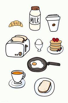 Cute Food Drawings, Cute Kawaii Drawings, Kawaii Stickers, Cute Stickers, Food Stickers, Preppy Stickers, Free Printable Stickers, Image Stickers, Journal Stickers