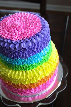 Rainbow Ruffle Cake- all buttercream 2 tier cake.