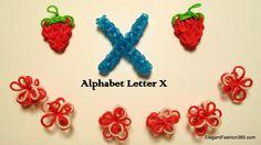 Alphabet Letter X charm on Rainbow Loom