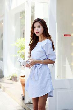 Peter Pan Button Dress | Korean Fashion