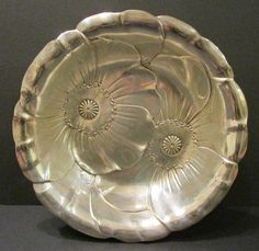 "Wallace Art Nouveau .925 Sterling Silver Poppy 10"" Bowl In Excellent Condition #Wallace"