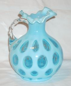 Fenton 7 1/2 inch Blue Opalescent Coin Dot Jug