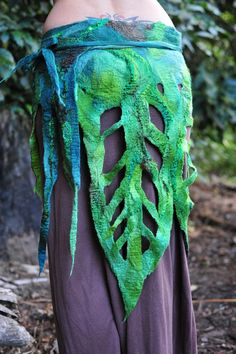 Felt Rainforest Leaf Woodnymph Fairy Belt Skirt OOAK