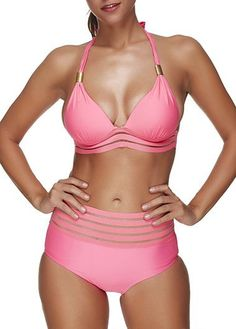Halter Neck High Waist Two Piece Swimwear Pink Sexy Bikini, free shipping worldwide, more discounts at rosewe.com, shop now.