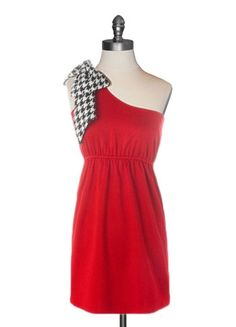 Judith March Red Game Day Dress with Houndstooth Bow