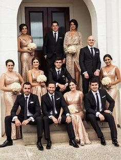 Pair rose gold sequins for the bridesmaids with Black by Vera Wang suits for a glamorous bridal party. Get $30 off each suit or tux rental plus more perks when you register at Men's Wearhouse.