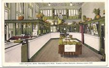 Traverse City, Michigan, FIRST NATIONAL BANK Interior, 1917 Advertising Postcard