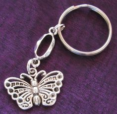 BUTTERFLY Silver Plated Filigree Kitsch Link Charm Key Chain Boho Art Nouveau #BusyBeeBumbleBeads