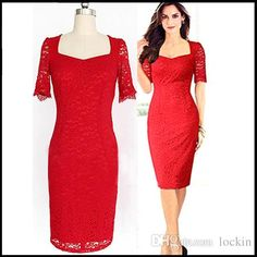 Red Lace Dress Women Summer Fashion Knee Length Pencil Bandage Bodycon Party Dresses Renda Plus Size S M L XL XXL from Lockin,$6.81 | DHgate.com