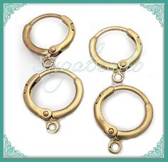 2 Pairs of Hoop Earrings with Lever Back  Brass tone by sugabeads