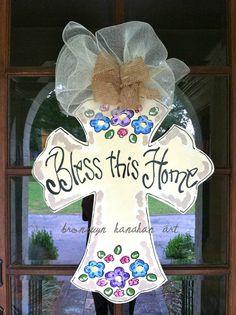 Bless+this+Home+Cross+Door+Hanger++Bronwyn+by+BronwynHanahanArt,+$50.00