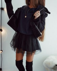 black on black | jacket + top + skirt + over the knee boots