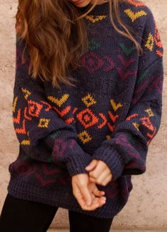 Pattern Over-sized Mystery Hipster Sweaters - BoHo Sweaters: All Hipster Colors - All Grunge Patterns. #grunge_style_dress