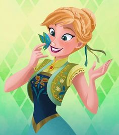Anna and the beautiful blue green butterfly in Frozen Fever Disney Princess Pictures, Disney Princess Art, Disney Fan Art, Princess Anna, Disney Kunst, Arte Disney, Disney Magic, Disney And More, Disney Love