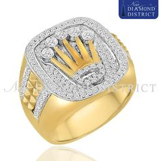 Men's 1.19ct Total Diamond Rolex Style Jubilee Crown Pinky Ring 14K Yellow Gold #Statement