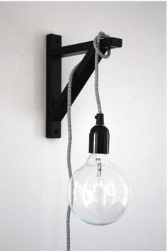 An Ekby Stilig bracket from Ikea, paint it black, loop a Swedish NUD Classic Pendant around it, and voilà, instant bracket pendant. by gena